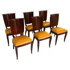 Italian Mid-Century Yellow Dining Chairs by Vittorio Dassi, Set of Six, 1950s