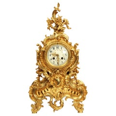 Large Antique French Gilt Bronze Rococo Clock by Japy Freres