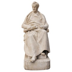 Antique Sculpted Plaster Marquette of a Seated Gentleman
