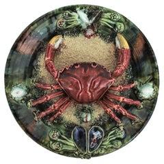 Trompe L' Oeil Crab Decorative Wall Plate in Majolica Ceramic