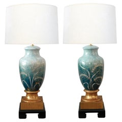 Pair Signed Camille Tharaud '1878-1956' Enameled Porcelain Lamps, Limoges