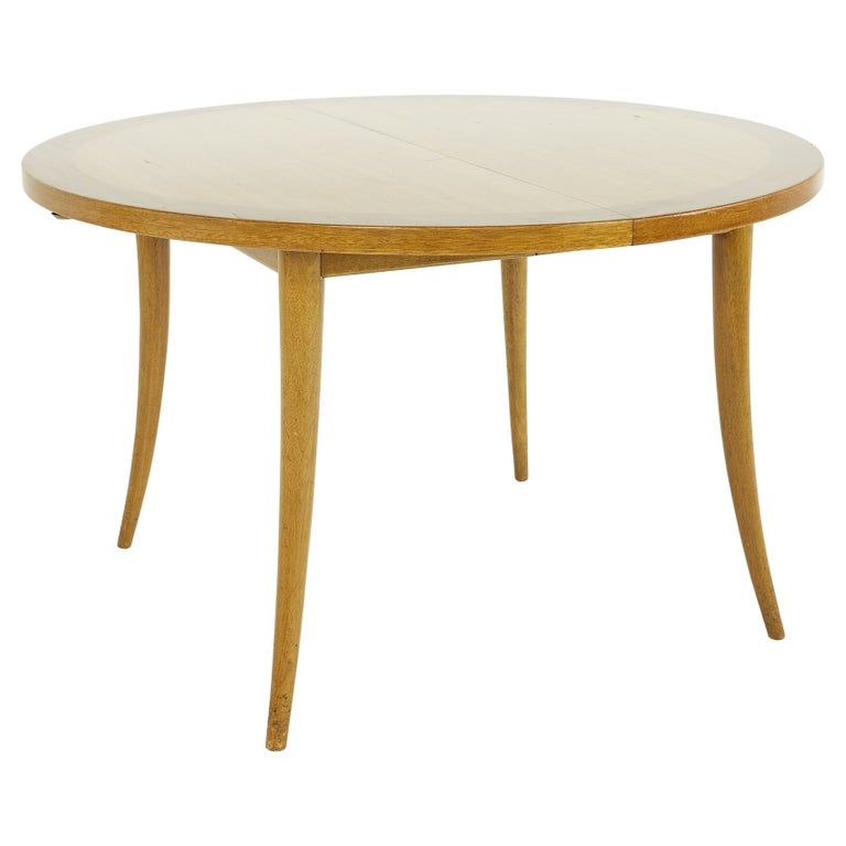 Harvey Probber MCM Saber Leg Extension Bleached Mahogany Dining Table For Sale