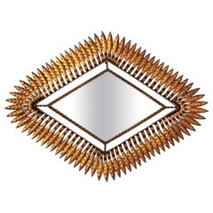 Sunburst Rhombus Wall Mirror in Gilt Metal