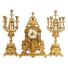 Huge Antique French Gilt Bronze Clock Set, Minerva