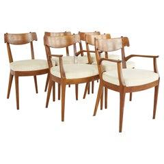 Kipp Stewart for Drexel Mid Century Walnut Dining Chairs - Set of 6