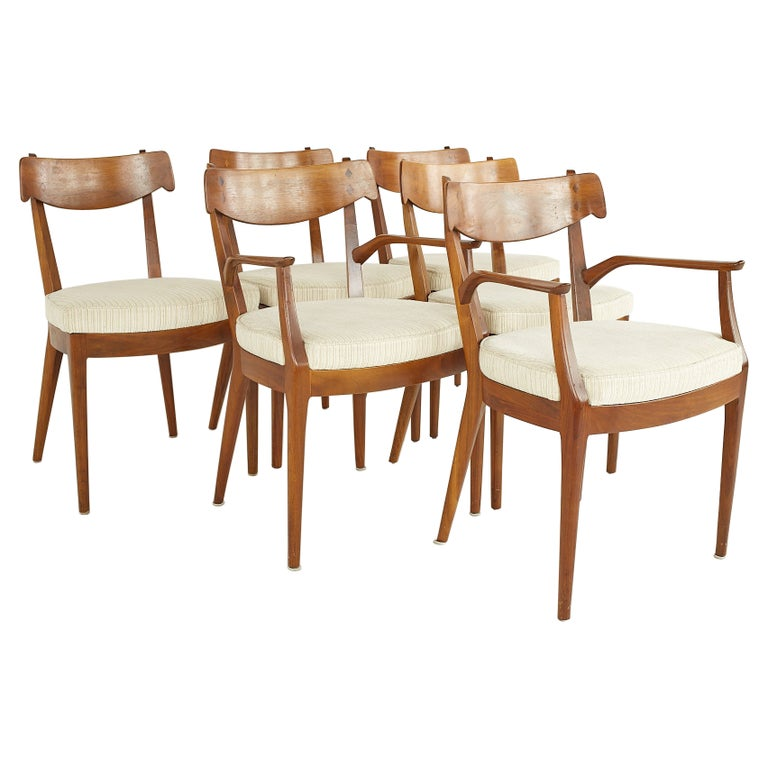 Kipp Stewart for Drexel Mid Century Walnut Dining Chairs - Set of 6 For Sale
