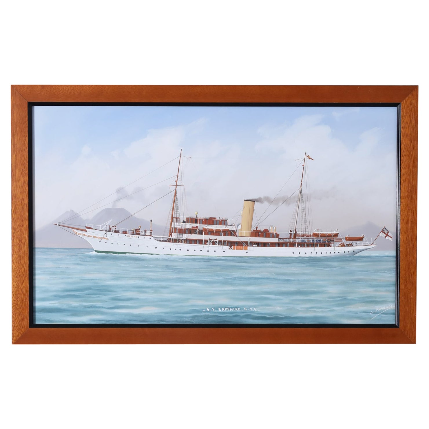 Antique Framed Painting of a Yacht by Luca Papaluca