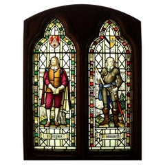 Stained Glass Reclaimed Window Depicting Oliver Cromwell and John Bunyan