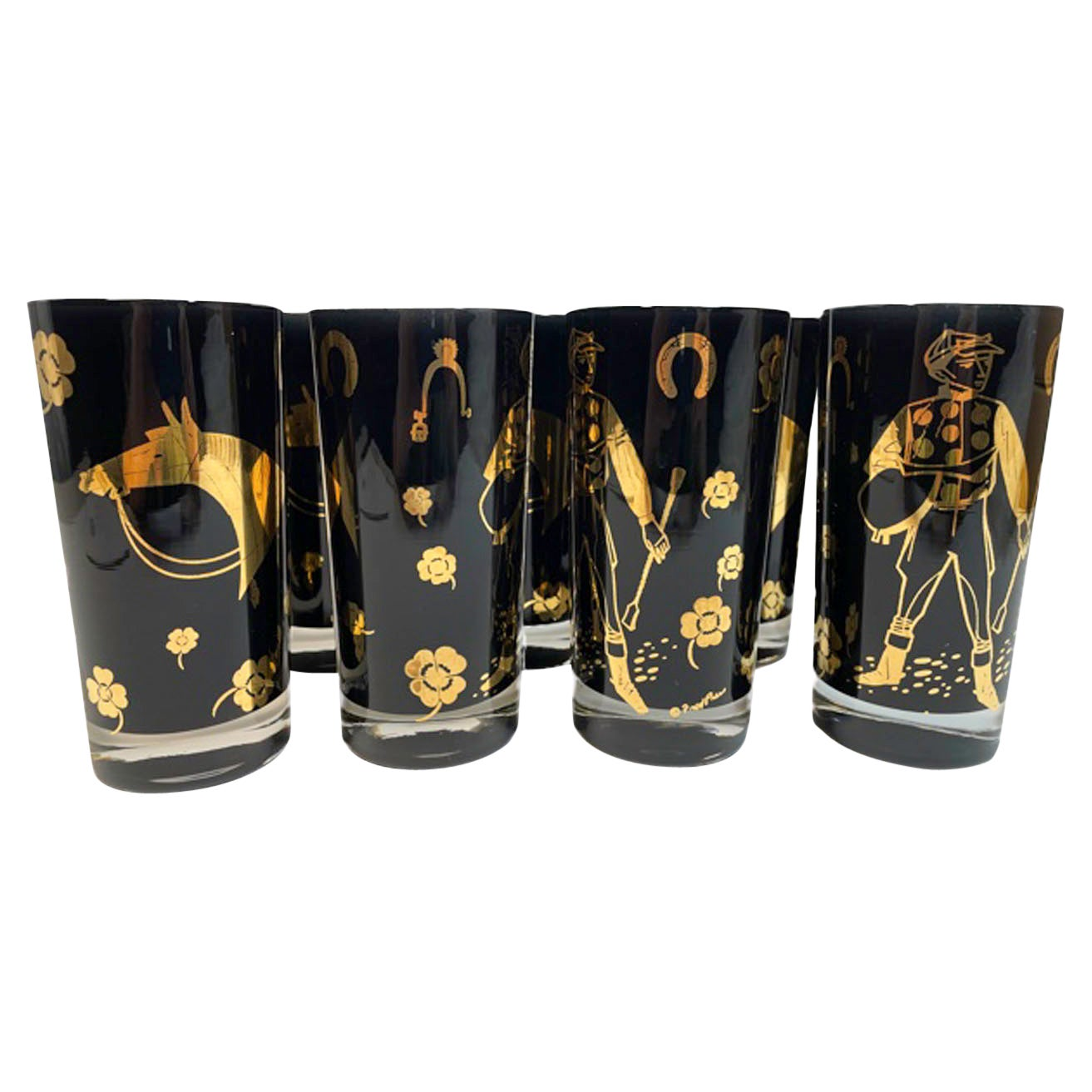 8 Vintage Fred Press Derby Time Highball Glasses with Black Frosted Interiors