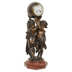 Huge Antique French Clock, Cherubs Carrying Time by Carrier
