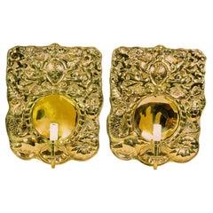 Pair of Dutch Pressed Brass Wall Lights