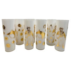 8 Vintage Fred Press Derby Time Tom Collins Glasses with White Frosted Interiors