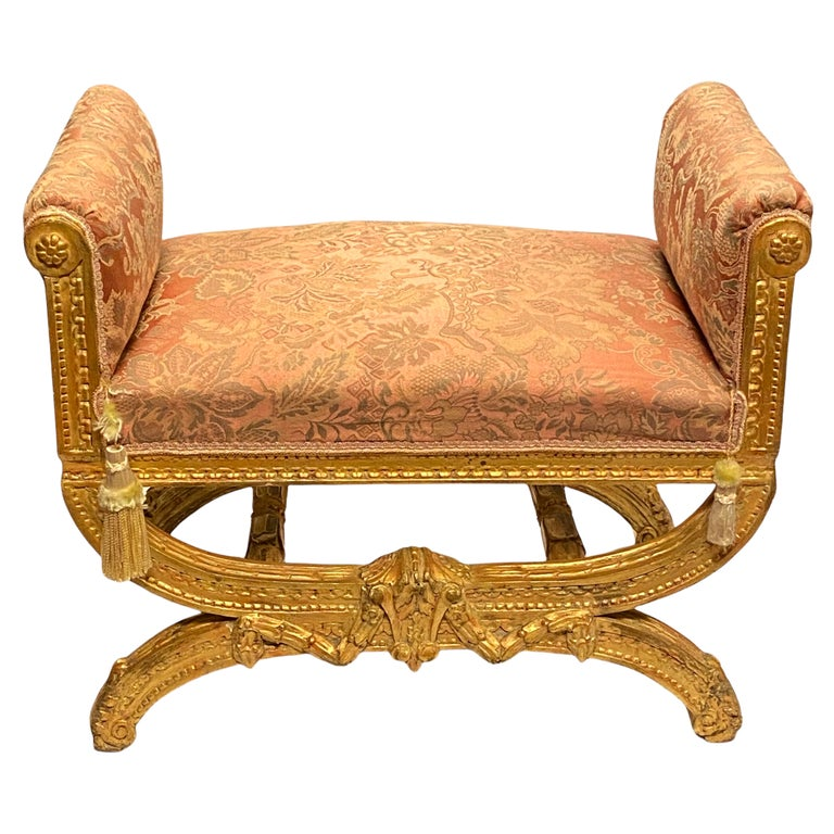Louis XVI Style Upholstered Giltwood Bench