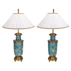Pair Chinese Cloisonné Vases / Lamps, 19th Century