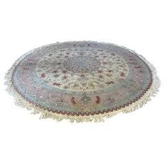 Persian Tabriz Circle Rug with Silk, circa 2000s