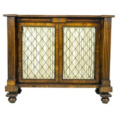 English Regency Brass Inlaid Rosewood Side Cabinet