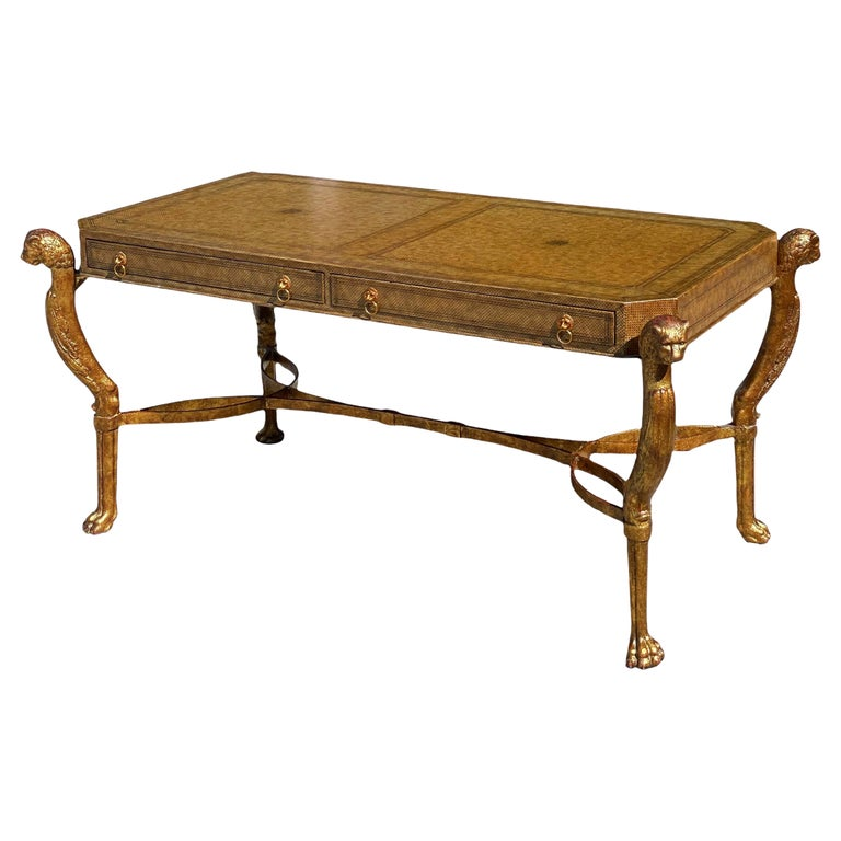 Neoclassical Desk by Maitland Smith in Leather and Gilt Wrought Iron, Lion Head For Sale