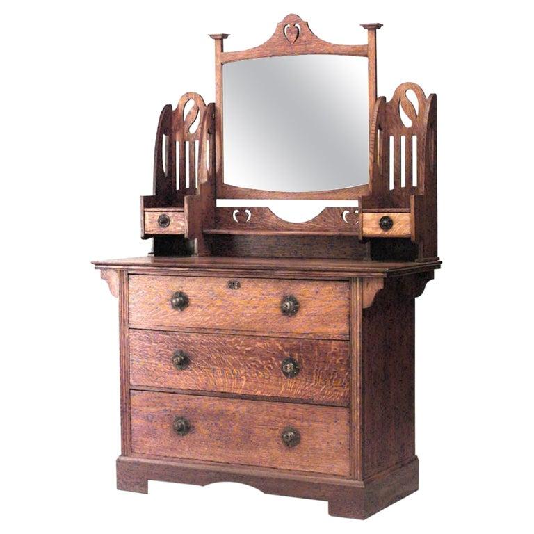 English Arts and Crafts Oak Dresser For Sale