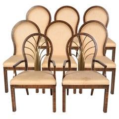 Set of 8 Mid-Century Mastercraft Brass & Wood Dining Chairs