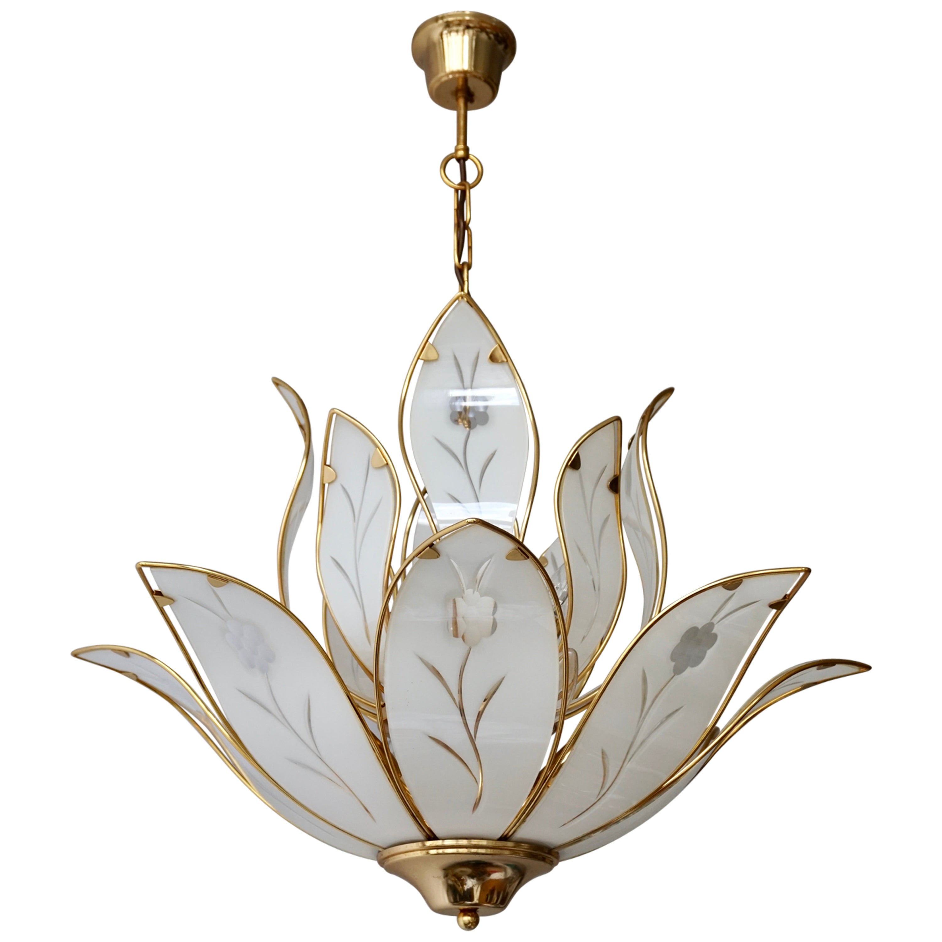 Lotus Chandelier in Brass and White Murano Glass