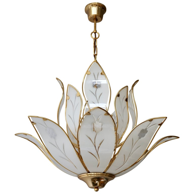 Lotus Chandelier in Brass and White Murano Glass For Sale