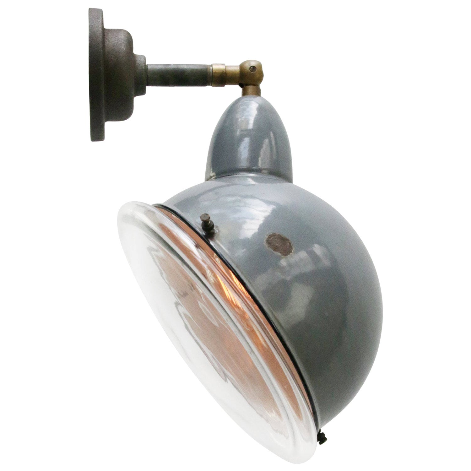 Gray Enamel Vintage Industrial Clear Round Glass Scone Wall Light