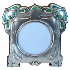 Art Nouveau Sterling Silver Enamel Photograph Frame, Cymric 1903