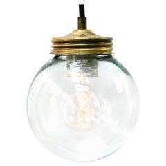 Clear Glass Vintage Industrial Brass Pendant Lights