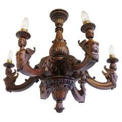 Antique Empire 19th Century Wood Carved Chandelier France Solid Oak 6 Lights