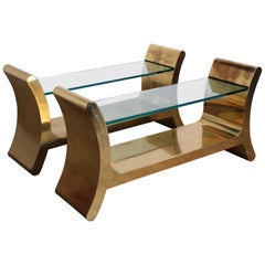 """Pair of Brass """"Ramses"""" Console Tables by Ron Seff"""
