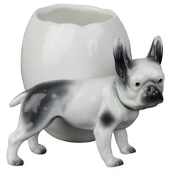 Porcelain French Bulldog Sculpture with Storage Pot or Planter