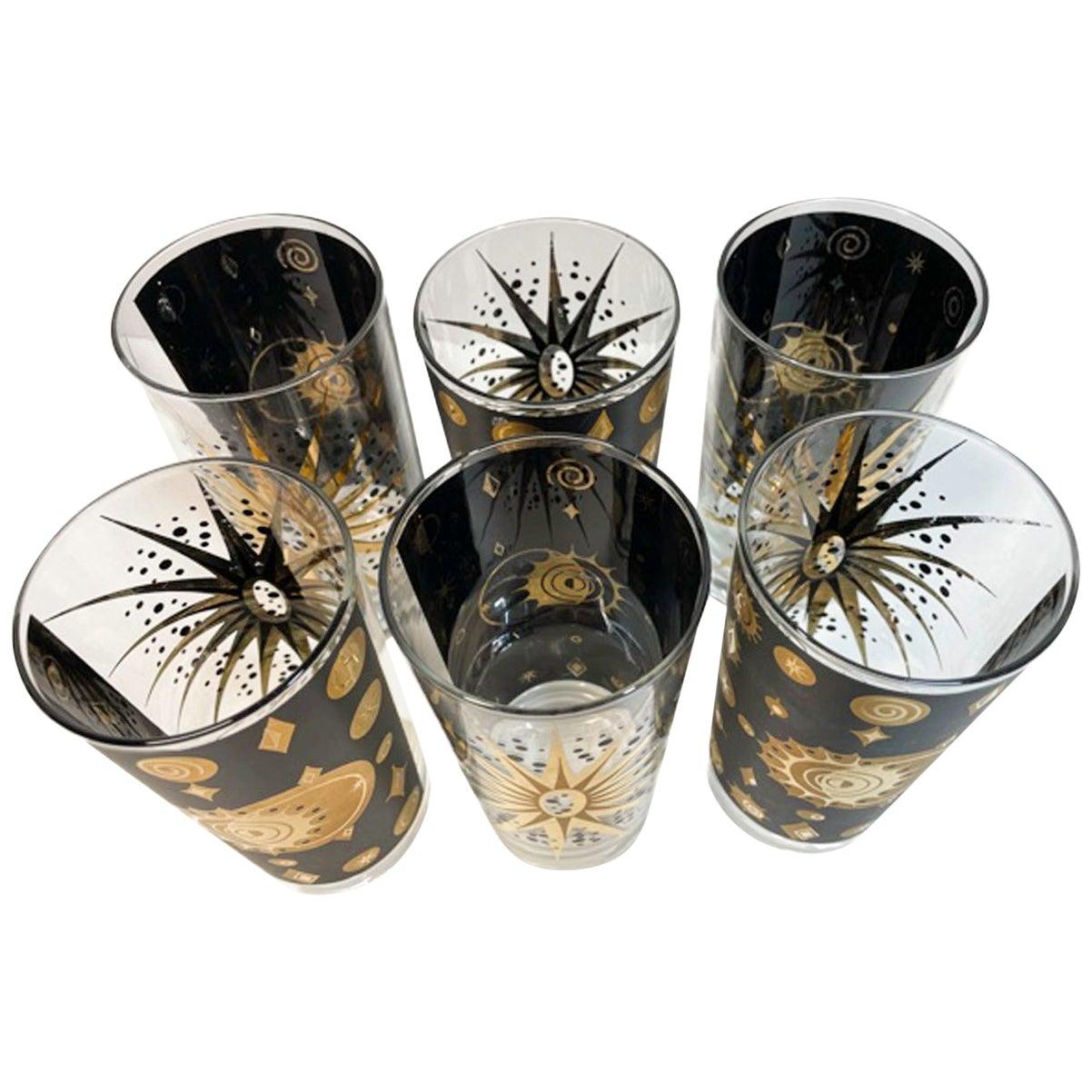 "Vintage Fred Press ""Eclipse"" Highball Glasses in Black Enamel and 22 Karat Gold"