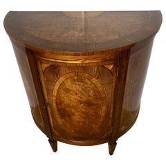 Trosby Demi-Lune Mahogany and Yew Wood Cabinet, Made in England