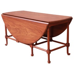 Baker Furniture Queen Anne Walnut Drop Leaf Coffee Table, Newly Refinished