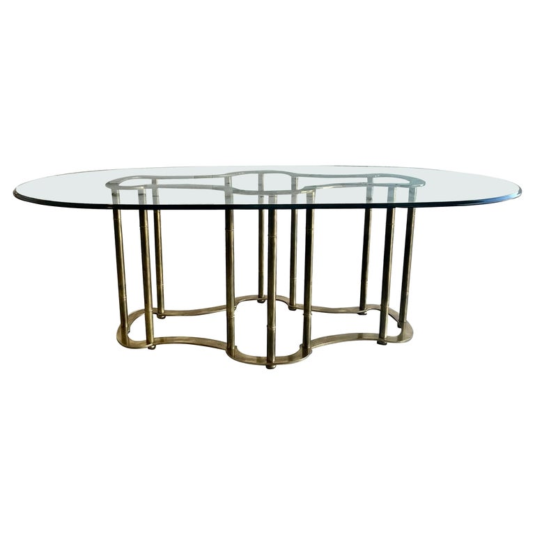 Mastercraft Brass Faux Bamboo Dining Table For Sale