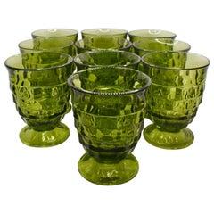 Mid Century Green Drinking Glasses, Set of 10