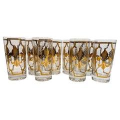 8 Vintage Fred Press Fleur de Lis Highball Glasses in 22 Karat Gold