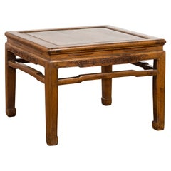 Chinese Ming Dynasty Style Vintage Low Side Table with Horsehoof Extremities