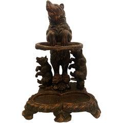 Antique German Hand-Carved Black Forest Wood Bear & Cubs Umbrella Stand Ca 1890