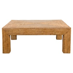 Vintage Burmese Parsons Leg Rattan Coffee Table Hand-Stitched over Wood