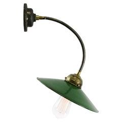 Green Enamel Vintage Industrial Flexible Arm Wall Lights Scones