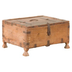 Rustic Indian 19th Century Wooden Box with Iron Details and Pyramidal Feet