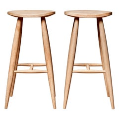 Handcrafted Sculptural Bleached Maple Counter Stool