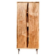 One of a Kind Sculptural Handcrafted Live Edge Ambrosia Maple Tall Cabinet