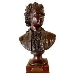 Antique Emile Pinedo Exposition des Beaux Arts Paris Bronze Bust of Goethe