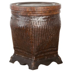 Chinese Vintage Hand-Stitched Rattan Basket with Round Top and Dark Patina