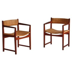 Scandinavian Modern Teakwood and Rattan Cane Armchairs by Hvidt & Molgaard, 1957