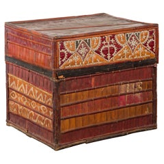 Filipino Tobacco Leaf Grain Basket with Polychrome Décor and Shell Motifs