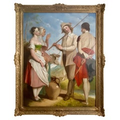 Huge Early 19th Century Oil on Canvas Painting