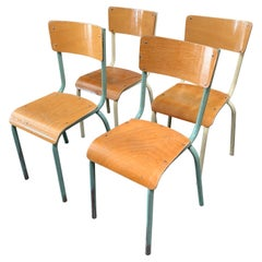 Set of 4 French Industrial School Chairs with Iron Frames